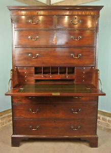 Fine George III Cuban Mahogany Secretaire Chest on Chest with Original Handles