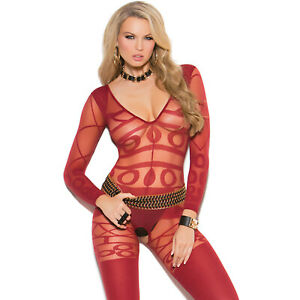 Long Sleeve Bodystocking Deep V Sheer Opaque Pattern Design Crotchless 81161