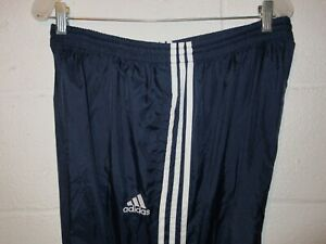 Vintage 90s Adidas Blue 3 Stripe Windbreaker Pants L