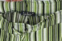 Loco Lindo Bohemian Pants Green Stripes Women's Size Medium M Elastic Relaxed