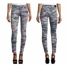 True Religion Camouflage Destroyed Ripped Halle Mid Rise Super Skinny Jeans $198