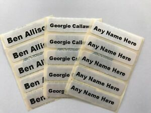 50 Iron On Sew In School Uniform/Clothing Washable Name Tag Labels Personalised.