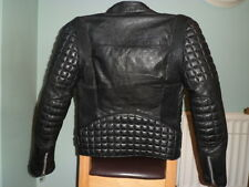 VINTAGE Leather biker jacket-SIZE 38-SMALL-XS-CAFE RACER-RARE PADDING DETAILS