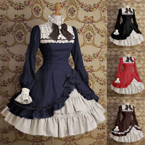 Medieval Lolita Girl Women Sweet Frill Dress Anime Party Palace Cosplay Costume