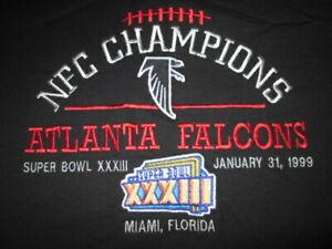 ATL Falcons 1999 NFC Champions, Super Bowl XXXIII, embroidered t-shirt. Men's L
