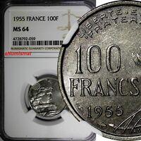 France 1955  100 Francs NGC MS64  KM# 919.1