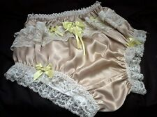 SISSY GOLD SILK SATIN FRONT FRILL PANTIES KNICKERS LEMON TAILED PUSSY BOW ROSES
