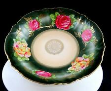 "C.A.L.& S. GERMANY YELLOW & RED ROSES GREEN & GOLD RIM 10 1/4"" BOWL 1890-1910"