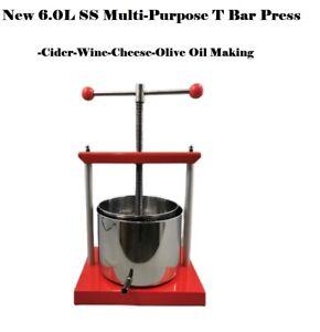 Free Posta S.S 6.0L T-bar Style Multi-Function Wine/Fruit/Olive Oil Making Press