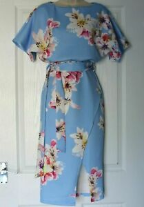 New Ladies Womens Baby Blue Tie Up Stretchy Flower Print Midi Pencil Dress Sizes