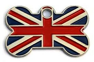 38mm Bone Shape Pet Tag with Various Flag Designs by Melian Engraved FREE