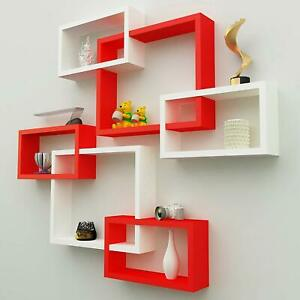 Intersecting Wooden Floating Wall Shelves Set of 6 - White & Red ,Home Decor