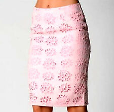 B63 Popular Pink Cutout Floral Style Trend Fashion Design Corporate Pencil Skirt