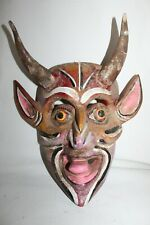 500 DEVIL maraca noise MEXICAN WOODEN MASK diablo wall decor handpainted artisan