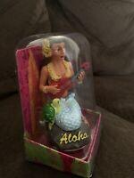 Hawaiian Dashboard Hula Girl Mermaid Ukulele Mini Doll Hawaii Aloha Islands NIB