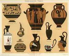 Griechische Vasen LITHOGRAPHIE von 1897 Krug Ölflasche Dodwell-Vase Weinkrug