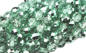 25 Ocean Breeze Metallic Faceted Fire Polished Round Glass Beads 8MM