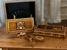 Vintage Miniature Dollhouse UNIQUE Artisan Signed Butterfly Parquet Woodwork Box