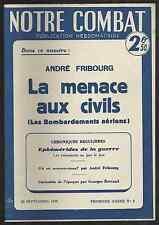 Notre Combat N°2 - 29/09/1939 - La Menace aux Civils Bombardements Aériens