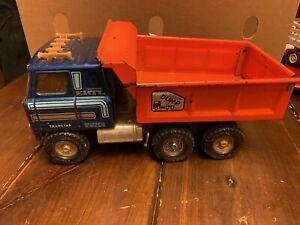 Ertl International Transtar Toy Automatic Dump Truck Blue Cab Orange Bed.