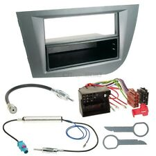 Seat Leon 1P 05-10 1-DIN Radio Coche Set Montaje+Cable,Adaptador,Marco de plata