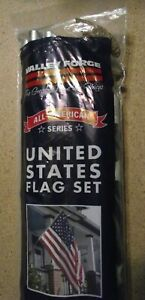 US Flag Set Poly Cotton 3x5ft,  AA-US1-1,  Valley Forge All American Series