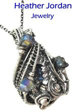 Bismuth Crystal & Titanium Quartz Druzy Wire-Wrapped Pendant in Sterling Silver