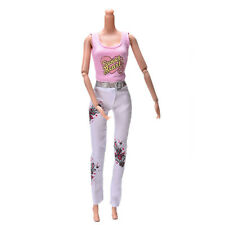 2X Pink Vest Suit for   Dolls Fashion White Pants Printed Doll Cloth HF2