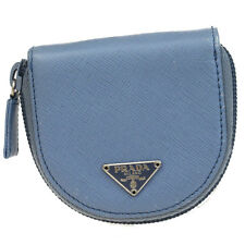 Authentic PRADA Logos Bifold Coin Case Wallet Purse Leather Blue Italy 07Q146