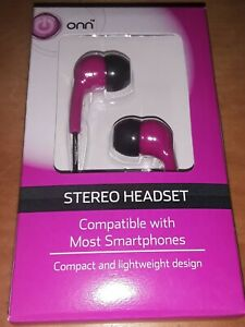 ONN Earbuds for Smartphones Pink Stereo Headset New Compact Lightweight NIB