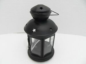 "Hanging Black Galvanized Steel Cutout Stars Candle Lantern - IKEA  9"" X 5"" - NEW"