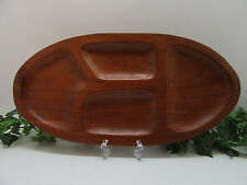 "Vintage Wood Divided Oval Plate Bowl Wooden Tray 17"" Long"