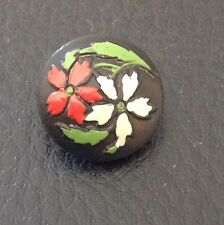 "Vintage 1/2"" Black Paint With Red And White Flowers Wood Button"