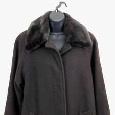 Larry Levine Womens Brown 100% Wool Coat Removable Faux Fur Collar Size 8P