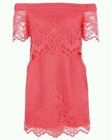 NWT TOPSHOP Bardot Off Shoulder Cocktail/Party Dress Pink Size UK6 - $90RPP (i1)