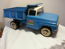 Old Vintage 1960's Tonka Dump Truck Hydraulic Box Blue White Cab Works Nicely