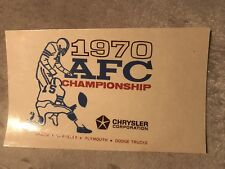 AFC Championship Baltimore vs Oakland 1970 Original Chrysler Corp. Unused Decale