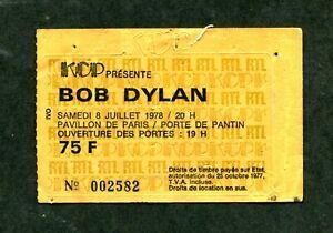 Bob Dylan ticket stub-  Pavillion DE Paris - 7/8/78