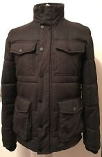 MENS NEXT CHARCOAL GREY & BLACK QUILTED PARKA SIZE SMALL