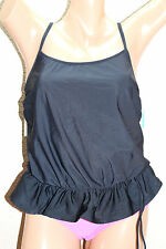 NWT Swim Solutions Black Solid Peplum Tie Side Blouson Tankini Top size 8 #SS1