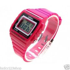W-215H-4A Pink 50m Casio Watch Unisex Digital Alarm Chronograph Resin Band New
