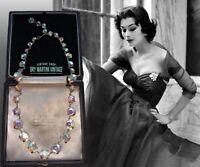 VINTAGE 1950s ART DECO AURORA BOREALIS RHINESTONE RIVIERE NECKLACE BRIDAL GIFT