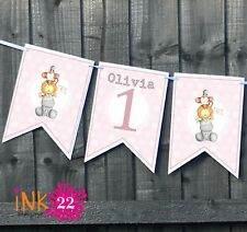 Personalised 1st Birthday Girl Pink Party Decoration Banner Bunting Jungle pals