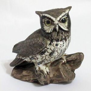 Great Horned Owl On Log Vintage Homco Hand Painted Ceramic Figurine