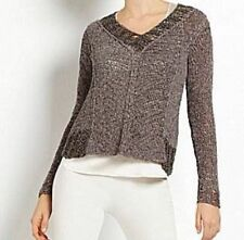 Eileen Fisher NWT $338 linen blend bronw/gray sweater size Large