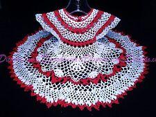 Handmade USA RED & WHITE Crochet Baby Dress Christmas Shower Baptism 100% Cotton
