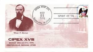 OLIVER P. MORTON CACHET COVER AT CIPEX XVI CENTERVILLE INDIANA 1976
