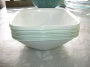 "LOT OF 5 NEW 'CORELLE""WHITE PORCELAIN  SALAD PLATES Made in USA"
