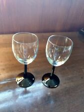 "Pair 2 Luminarc Clear Glass 12 oz. Wine Glasses with Black Stems 7"" EUC"