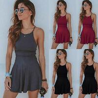 Women's Summer Casual Sleeveless Short Mini Dress Strappy Beach Swing Sundress